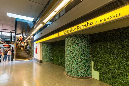 Buenos Aires, Argentina - November 18, 2018: Facultad de Derecho subway station