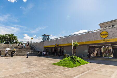 Buenos Aires, Argentina - November 18, 2018: Park at Facultad de Derecho subway