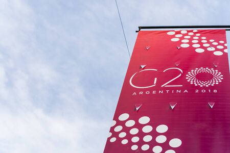 Buenos Aires, Argentina - November 25, 2018: Sign of G20 summit Editorial