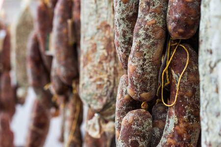 Traditional Italian delicatessen salami sausage