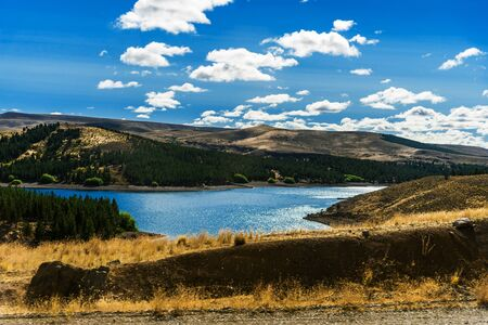 Landscape of blue lakes, Andes mountains, and forest in Patagonia, Argentina.