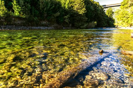 Transparent water of Rio Correntoso, the shortest river in the world, Argentina