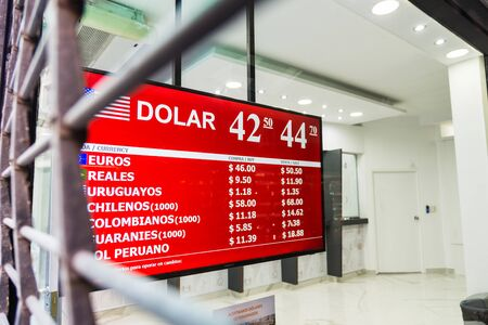 Buenos Aires, Argentina - April 6, 2019: Currency exchange house in Buenos Aires