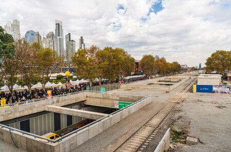 Buenos Aires, Argentina - May 26, 2019: Wide angle view at Paseo del Bajo Editorial