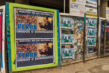 Buenos Aires, Argentina - June 30, 2019: Posters in commemoration of Peron death