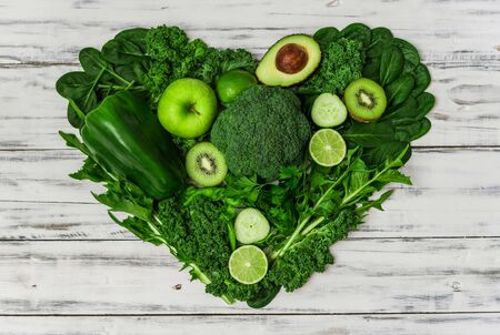 Selection of healthy green food fresh vegetables and fruit