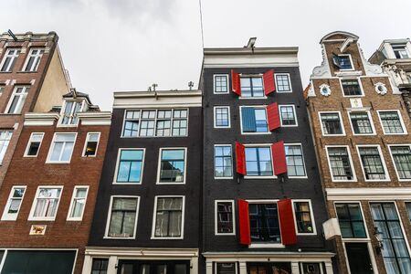 Traditional Dutch architecture colorful houses in Amsterdam, Netherlands