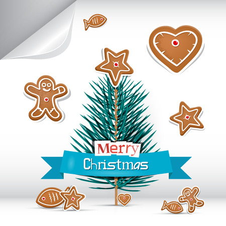 starr: Vector Merry Christmas Background with Gingerbread Illustration