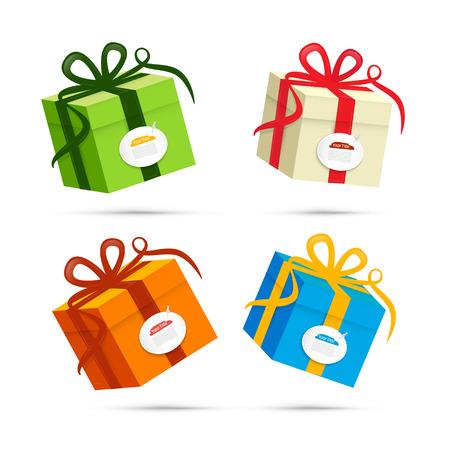 christmas presents: Vector Present Box, Gift Box Set