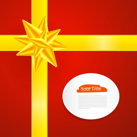 starr: Red Abstract Vector Merry Christmas Background with Yellow Ribbon