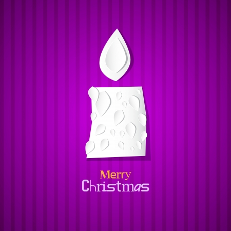 starr: Violet Abstract Vector Merry Christmas Background, Paper Candle