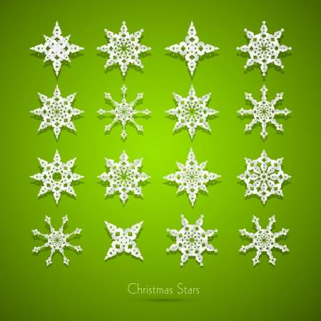 starr: Green Abstract Vector Merry Christmas Background, Paper Snowflakes Set