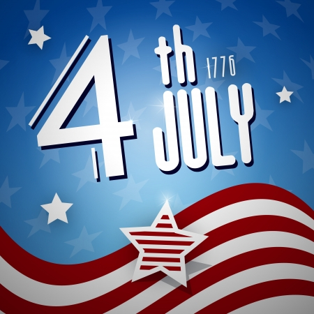 Independence Day, the Fourth of July, American flag, vector  Vector