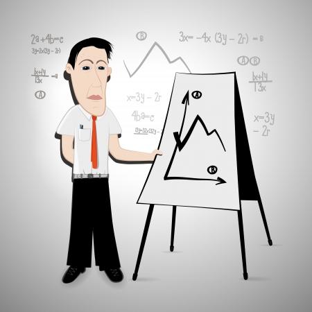 Vector illustration of businessman or teacher with flipchart  Vector