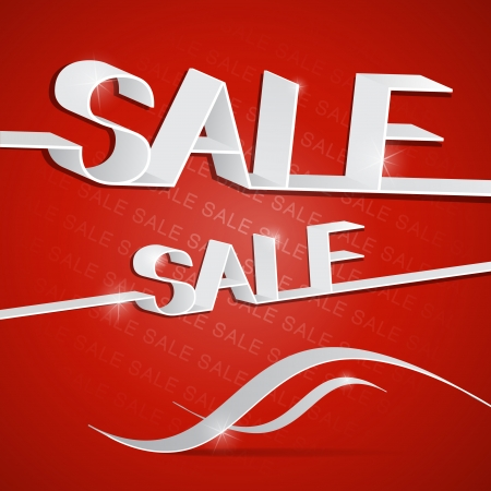 Sale heading on red background, vector  Vector