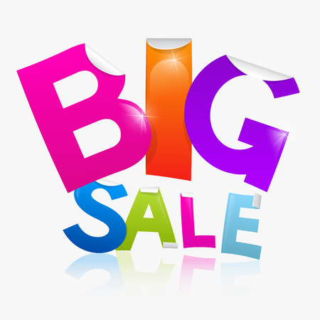 Vector Big Sale heading in shiny colour - pink, orange, violet, blue and greed