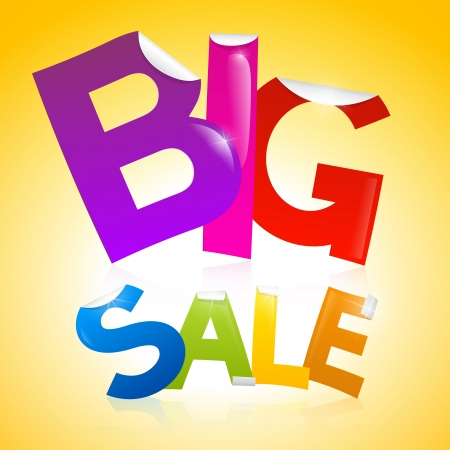 Vector Big Sale heading in shiny colours on bright yellow background