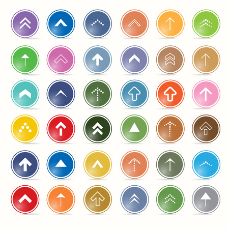Vector arrow symbols and shapes set in circle, web symbols  Vector