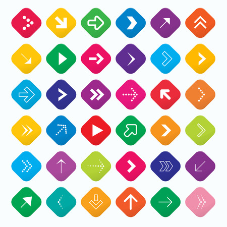 Vector arrow symbols and shapes set in rotated rounded square, bright colours, web symbols  Vector