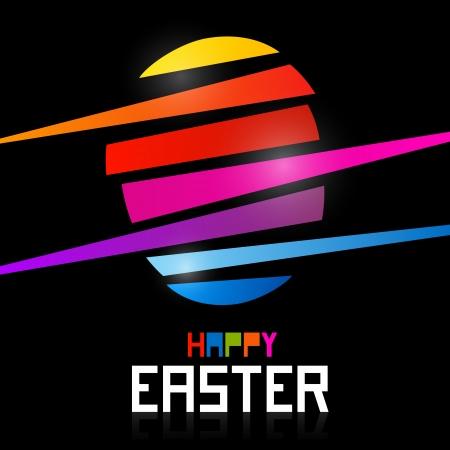 Vector Easter egg on black background, shiny colors, Happy Easter celebration