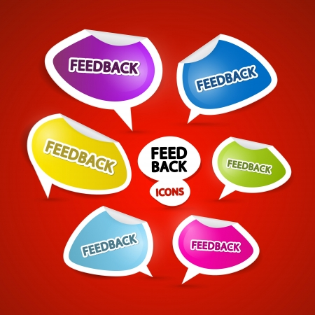 Colorful Vector Feedback Icons on Red Background Vector