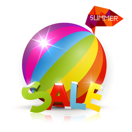 heading the ball: Summer Sale - vector colorful heading with ball on background