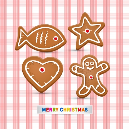 Abstract Vector Merry Christmas Background, Gingerbread Fish, Star, Heart and Man