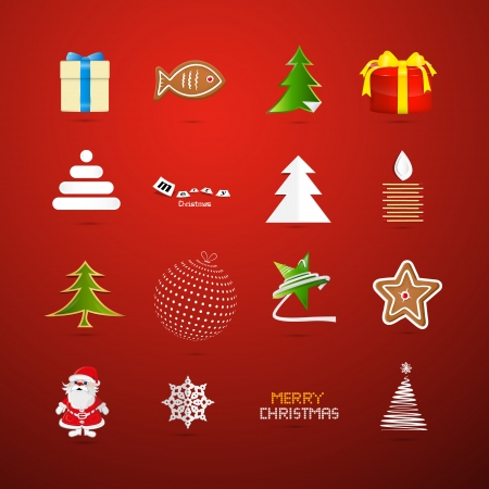 Christmas Icons on Red Background Vector
