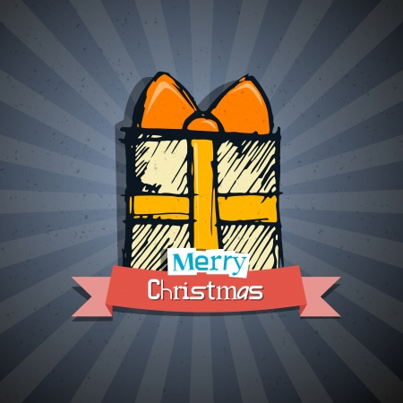 Retro Abstract Vector Merry Christmas Background Vector