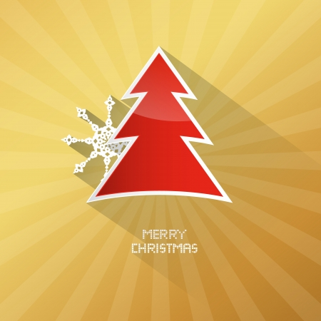 starr: Gold Abstract Vector Merry Christmas Background ith Red Tree