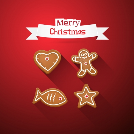Red Abstract Vector Merry Christmas Backgroundwith Gingerbread Vector