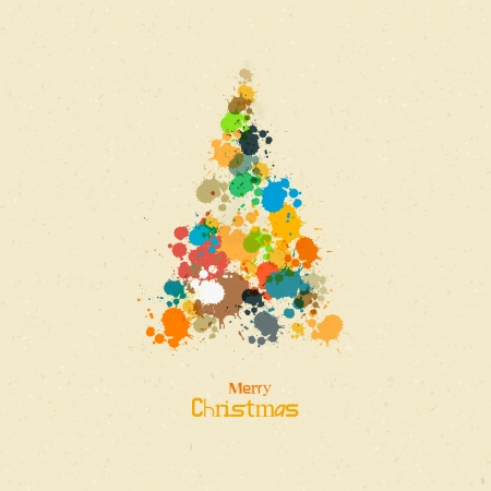 Abstract Vector Merry Christmas Background, Tree from Splashes Vector
