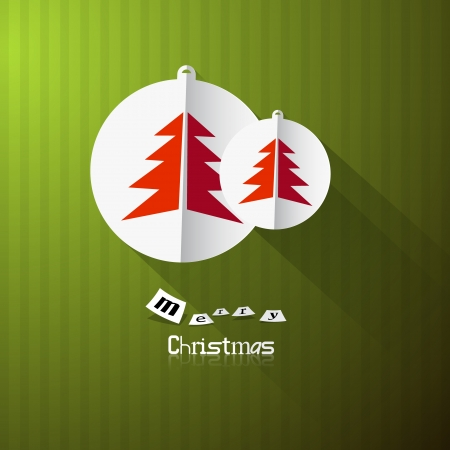 starr: Green Retro Abstract Vector Merry Christmas Background