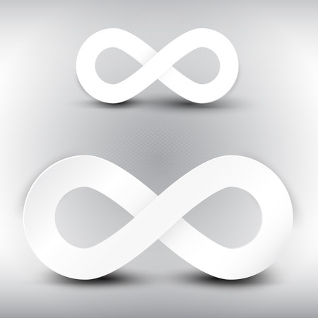 infinito simbolo: Vector carta infinity simbolo su sfondo grigio Vettoriali
