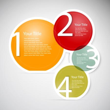 1、2、3、4、カラフルなベクトル紙進行手順チュートリアルは、インフォ グラフィック