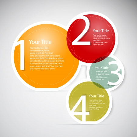 One, two, three, four, colorful vector paper progress steps for tutorial, infographics