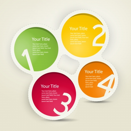 One, two, three, four, colorful vector paper progress steps for tutorial, infographics  Vector