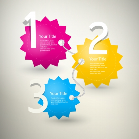 d offer: One, two, three, colorful vector paper progress steps for tutorial, infographics