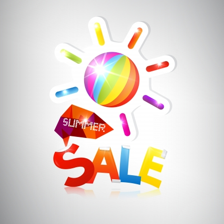 Summer Sale - vector colorful heading with sun  Vector
