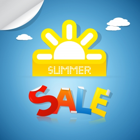 d offer: Summer Sale Title - yellow sun on blue background with clouds Illustration