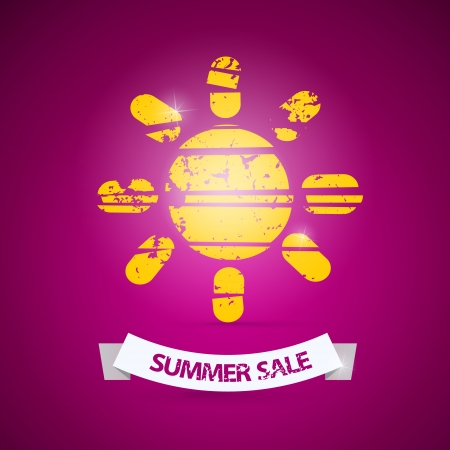 d offer: Vector Summer Sale Title with Sun Symbol on Violet Background  Illustration