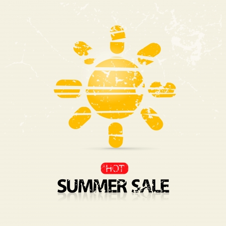 d offer: Vector Hot Summer Sale Title with Yellow Sun Symbol on Light Background