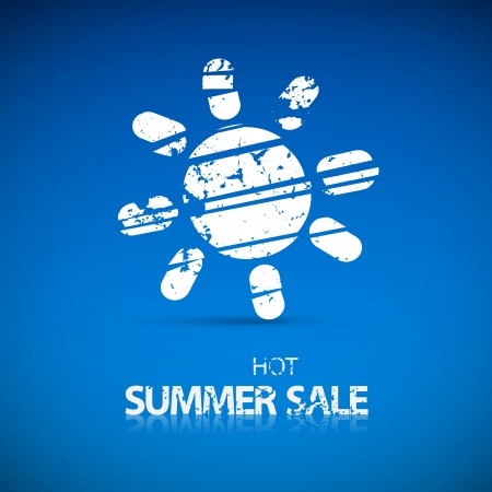 Vector White Hot Summer Sale Title with Sun Symbol on Blue Background  Vector