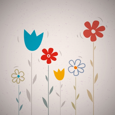 Abstract Retro Vector Flowers on Recycled Paper Background  Vector