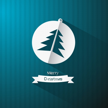 Vector Blue Background with Christmas Ball and Tree Made from Paper  Stock Vector - 23965261