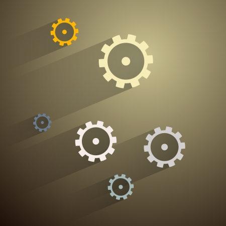 Abstract Paper Vector Cogs, Gears on Dark Background  Vector