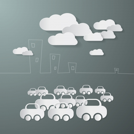Paper Cars and Clouds in the City  Vector
