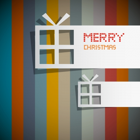 starr: Retro Vector Christmas Theme - Present Boxes Made From Paper  Illustration