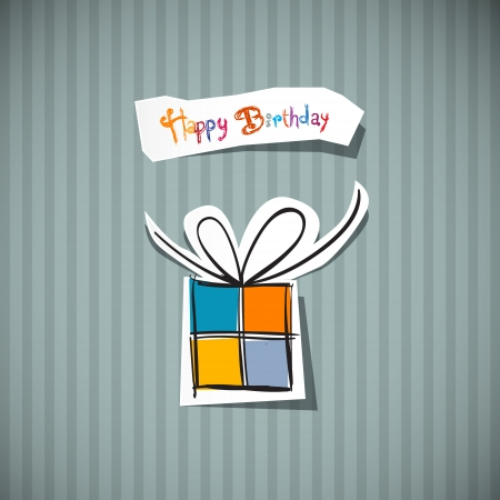 Retro Happy Birthday Card  Present Box Cut From Paper  Vector