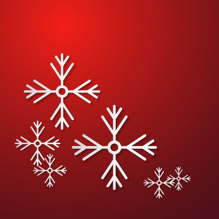 starr: Abstract Christmas Red Background With Paper Snowflakes